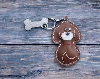 leather keychain, custom keychain, Handmade Keychain, Dog Shaped, gift for sister, Leather Keyring, Brown Keychain, leather keychains