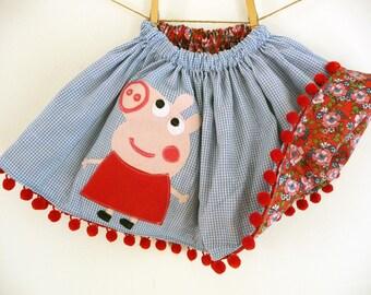 PEPPA PIG SKIRT - Peppa Pig Reversible Skirt - Peppa Pig Birthday- Peppa Pig Party