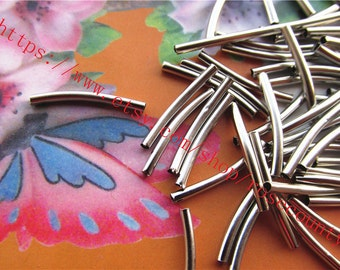 wholesale 100pcs 20x2mm silver bracelet curved tube charms findings--hole 1.5mm
