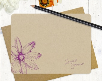 personalized note cards stationery set - DAISY FLOWER BLOOM - set of 12 flat cards - kraft stationary - floral - botanical - nature