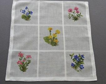 Sale - Swiss Flowers - Vintage Floral Cotton hankie Handkerchief