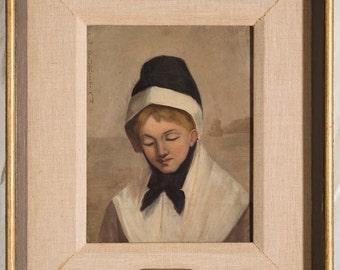 """Texas Artist Robert Jenkins Onderdonk """"The Puritan"""" 1880 Oil Painting"""