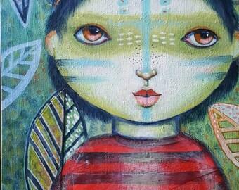 Painting original whimsical quirky modern folk art Amazon Earth love 9 x 12 oddimagination