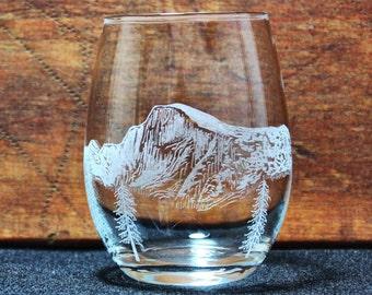 Yosemite - Half Dome Hand-Engraved Stemless Wine glass