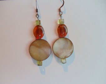 Handmade Beaded Earrings Fall Colors Glass Beads Copper Colored Earwires and Findings