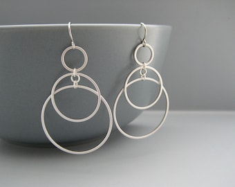 Silver 3 Circle Earrings - Multiple Hoop Earrings, Chain Link Office Jewelry - Sunrise (Small)