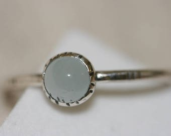 Tiny Aquamarine Stacking Ring, 925 Sterling Silver Ring, Handmade Sterling Silver Ring,  Aquamarine Ring,