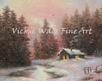 Cabin in Snow Painting, ORIGINAL Oil Painting 12X16, winter cabin, winter woods, snow forest, peach, blue, brown, pond, Vickie Wade Art