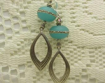 Lampwork Earrings Aqua Blue with Mottled Ivory Banding Etched Earrings Glass Bead Earrings Dangle Drop Earrings Handmade Earrings SRAJD