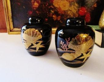 Otagiri Salt and Pepper Shakers, Hollywood Regency Salt and Pepper Shakers, Black and Gold Shakers