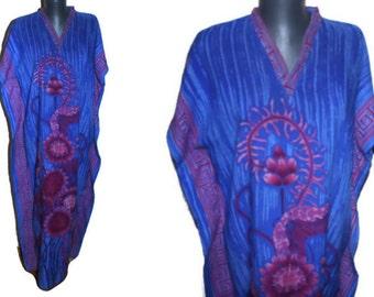 Blue Dashiki dress Purple floral Ethnic maxi dress Robe African caftan Hippie BOHO cotton summer dress  Tribal kaftan