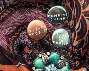 Mom Badges. Breastfeeding pin. Breastfeeding gift. Nursing mom. Pumping pin. New mom jewelry. New mom gift basket item. New mom gift set.
