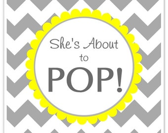 Baby Shower About to Pop labels, Chevron, Square She's About to Pop Stickers, Baby Shower Labels