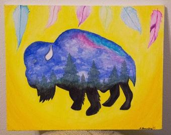Watercolor Bison