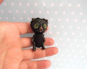 OOAK CAT doll. Handmade Artist Teddy Bear. miniature Teddy Bear. BLYTHE Friend Toy
