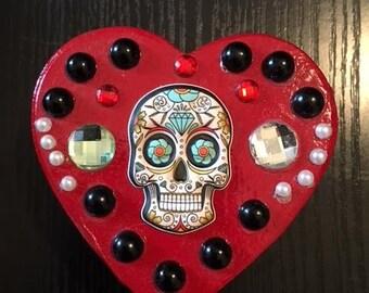 Red Skull Heart Trinket Box