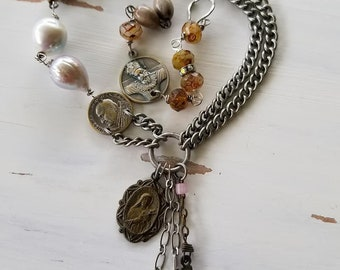 Assemblage Necklace / Religious Repurposed Necklace