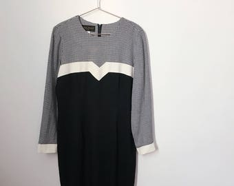 vintage 80s navy blue gingham colorblock dress (small/medium) – free us shipping