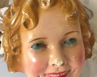 Antique Vintage Shirley Temple chalkware string holder plaster wall hanging hand painted figurine face bust blue eyes collectible rare