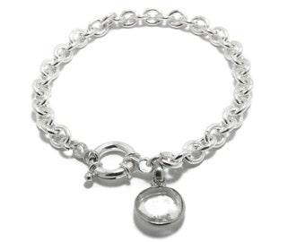 Silver Crystal Charm Bracelet Sterling Silver bracelet Big Crystal glass charm bracelet healing crystal swarovski style crystal bracelet