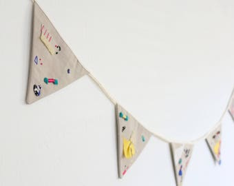 Original Textile Art - Fabric Bunting Flag Garland Decoration - Art Heirlooom - Spontaneity  Collection - Ashdel