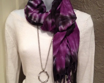 Hand dyed rayon scarf, Tie dyed rayon scarf, Hand dyed purple and black rayon scarf, fringe scarf