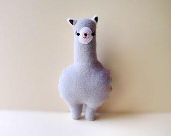Small Alpaca Plush Toy, MINI Alpaca soft toy, Alpaca pillow, Alpaca decor, Alpaca cushion, GRAY Alpaca, Nursery toy, baby toy, Animal Pillow