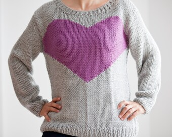 Hand Knitted Gray Sweater with Heart Pattern by Afra