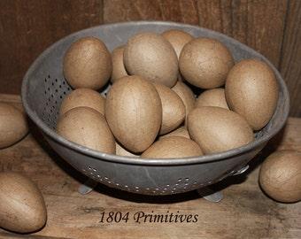 "24 Unfinished Paper Mache Eggs ... 2-1/2"""