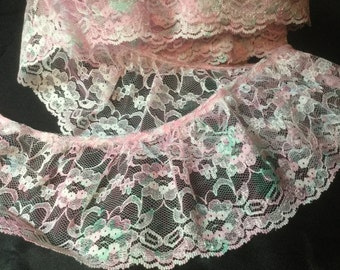 """Pink and Teal ruffled lace trim 3 1/2 """" wide"""