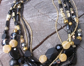 Black and Gold Necklace ~ Chunky Bead Necklace ~ Statement Necklace ~ Multistrand Black Necklace ~ Multi Strand Necklace ~ Beaded Bib