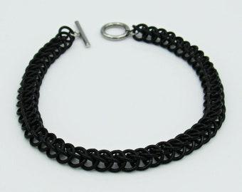 Black Chainmail Bracelet, Half Persian Weave, Chainmaille Bracelet, Chainmail Weave, Chainmail Jewelry, Handmade Bracelet