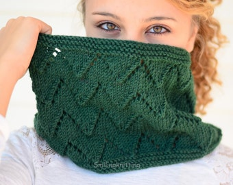 Emerald Green Scarf, Knit Scarf, Hand Knit Cowl, Chevron Knit, Neck Warmer,Military, Forest Green, Cowl, Hand Knit Scarf