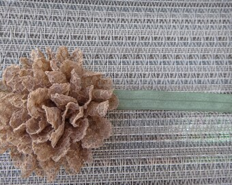 brown lace flower headband, newborn, infant, toddler, photo prop, glitter, elastic, lace headband, MORE ELASTIC OPTIONS!