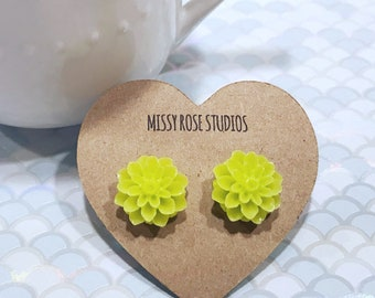 lime green earrings, apple green earrings, large flower earrings studs, plastic flower studs, dahlia earrings, green floral earrings