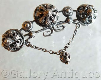Antique Edwardian Hungarian Imported Silver Ornate Pierced Fretwork Bar Brooch C Clasp c.1905 Austro-Hungarian Continental Hungary