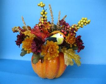 Fall Floral Centerpiece silkflowers arrangement with pumkin gourd and bird ooak