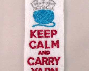 Keep Calm and Carry Yarn Patch. Embroidered Patch. Embroidered Applique. Sew On Patch. Knitting Bag Patch.