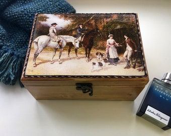 men's valet box , wooden watch box , jewelry box , gift for him, box with hunter