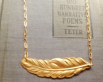 Gold Feather Necklace simple summer boho brass