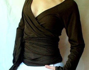 Organic wrap top, custom made organic clothing, wrap shirt, handmade clothing for women