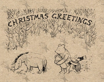 Winnie the Pooh Christmas Instant Download Digital printable vintage clipart  for stickers, scrapbooking,  home decor,  prints etc HQ 300dpi
