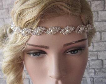 Bridal headpiece/ Wedding headpiece, Wedding Tiara, Rhinestoneand peaerl bridal headband, Crystal headband