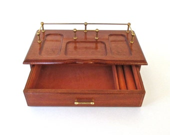 Vintage Gentlemans Valet GUNTHER MELE Solid Wood Jewelry Box with Brass Top Rack