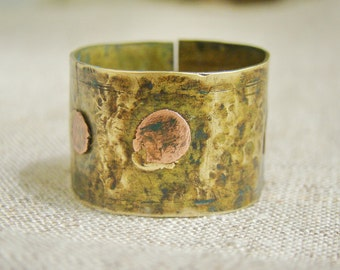 Cool Mens ring - antique brass and copper