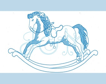 Mini Sketch Vintage Style Rocking Horse Machine Embroidery Design
