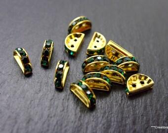 10 connectors gold swarovski 12 x 3 mm