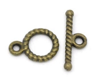 Twisted metal Toggle clasps Bronze individually