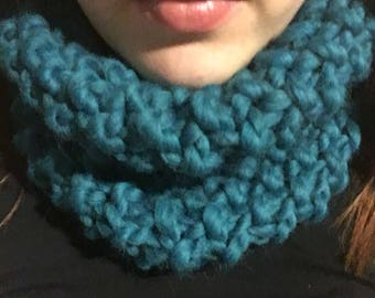 Turquoise Seed Stitch Cowl