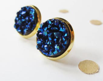 Navy and Gold Druzy Stud Earring, Bridesmaid Earrings, Stud Earrings, Druzy Earrings, Nickle Free, Gold Earrings, Gift for Her, Navy